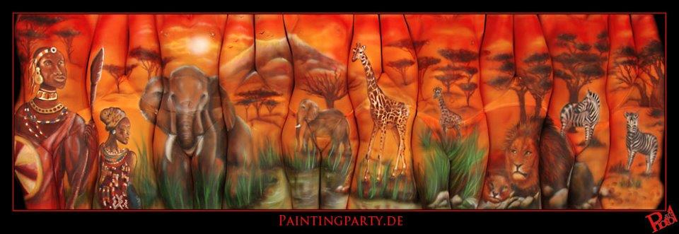 body painting Africa scene, multiple bodies
