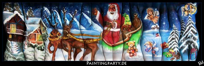 multiple bodies painting christmas lynn schockmel