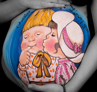 twins belly painting