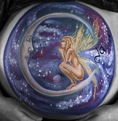fairy moon night belly painting